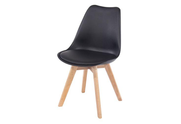 Chaise en Bois de Hêtre et Plastique Design Vicenza Asti Noir