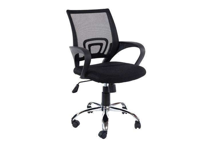 Chaise de Bureau en Métal, Plastique et Tissu Maillé Design Vicenza Home Office Noir