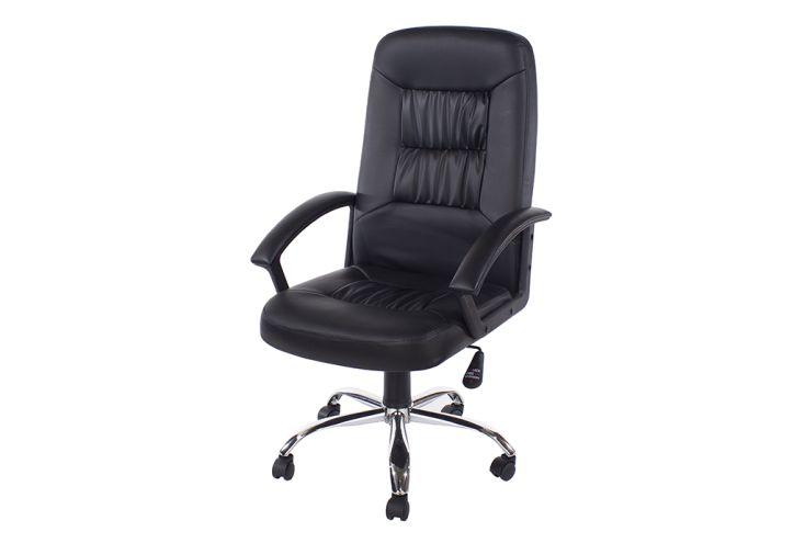 Chaise de Bureau en Métal et Similicuir Design Vicenza Home Office Noir