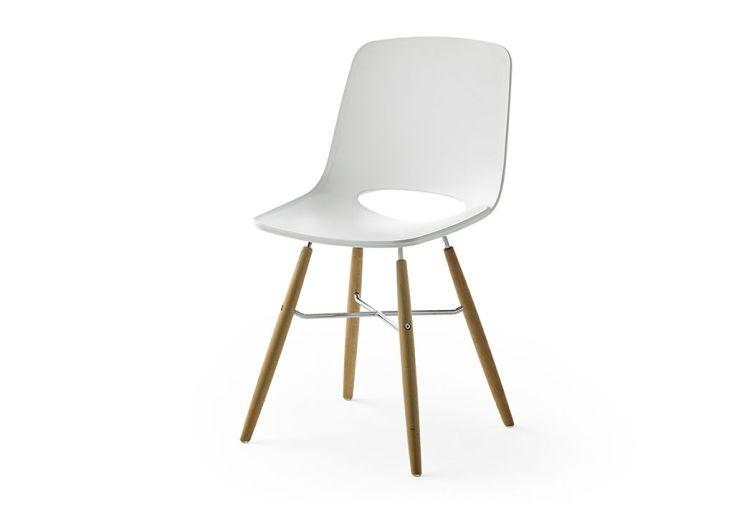 Lot De 2 Chaises Design En Bois Massif Avec Assise Pvc Blanc
