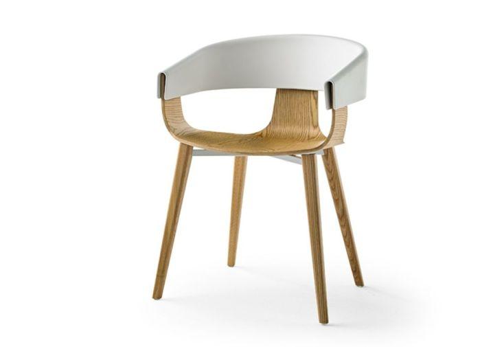 chaise design en bois massif avec dossier en pvc blanc