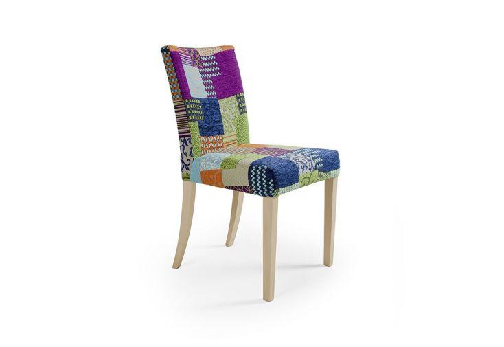 lot de deux chaises en h tre teint ch ne et tissu patchwork terni jcsilla. Black Bedroom Furniture Sets. Home Design Ideas
