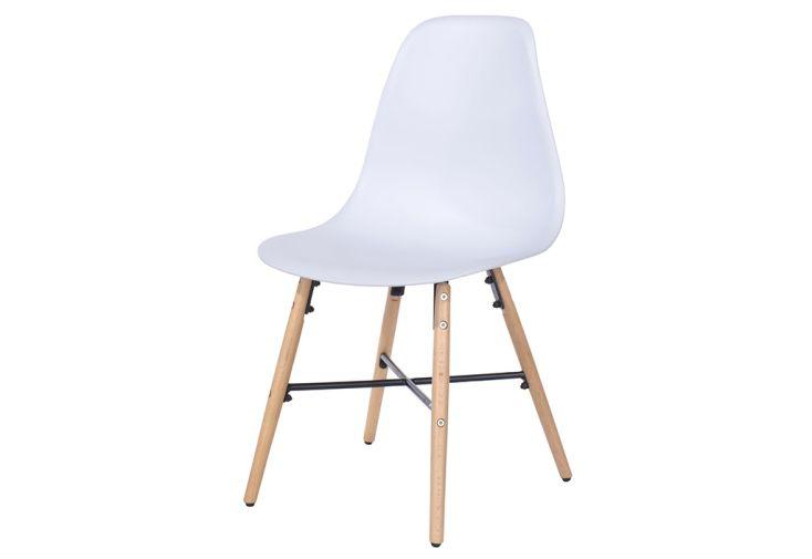Chaise de Salle à Manger en Bois de Hêtre et Plastique Design Vicenza Asti Blanc