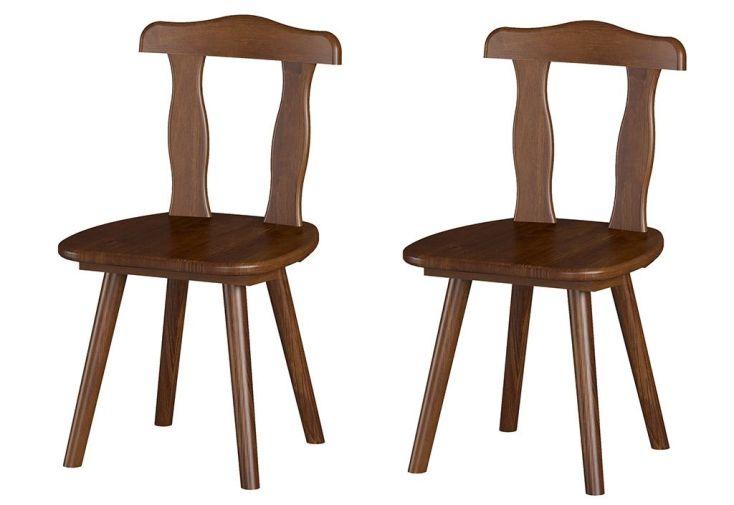 Lot de 2 chaises en bois massif marron style rustique