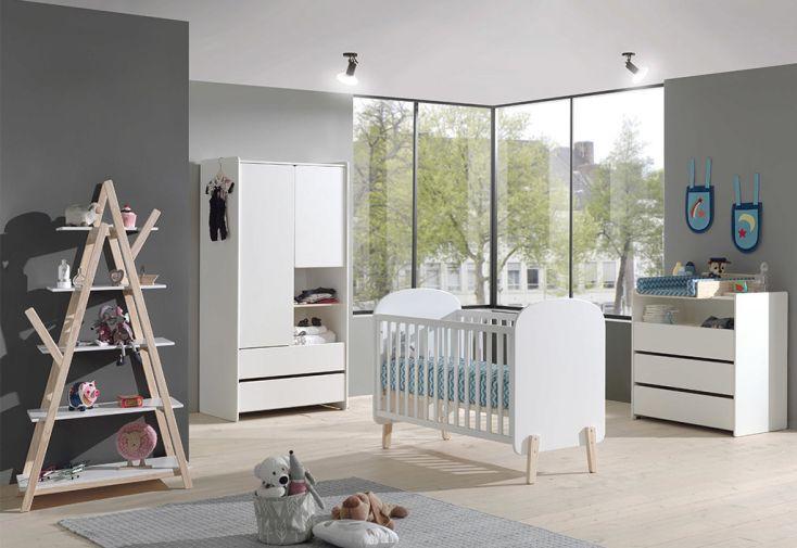Chambre bébé complète avec lit bébé, commode à langer, armoire et bibliothèque Vipack Kiddy