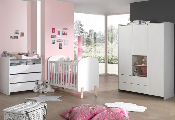 Chambre complète bébé avec lit bébé, armoire enfant, commode et plan à langer