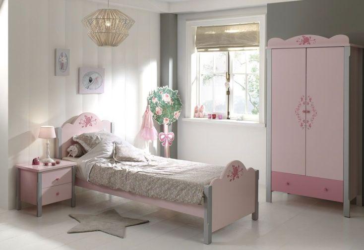 Chambre complète de princesse : 1 lit armoire 3p chevet bureau