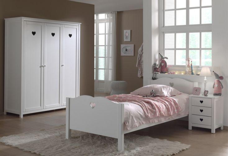 Chambre complète enfant : lit 90 x 200, armoire 3 portes et chevet Vipack Amori
