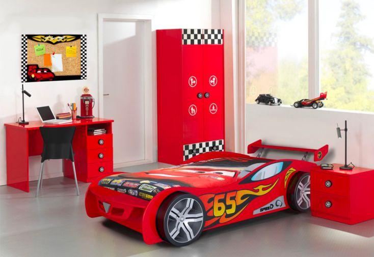 Chambre complète enfant : lit voiture de course, armoire, bureau, chevet bois rouge