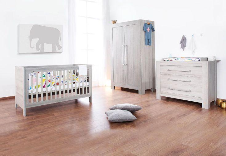 Chambre de Bébé en Pin et Frêne Massif Gris Somnio