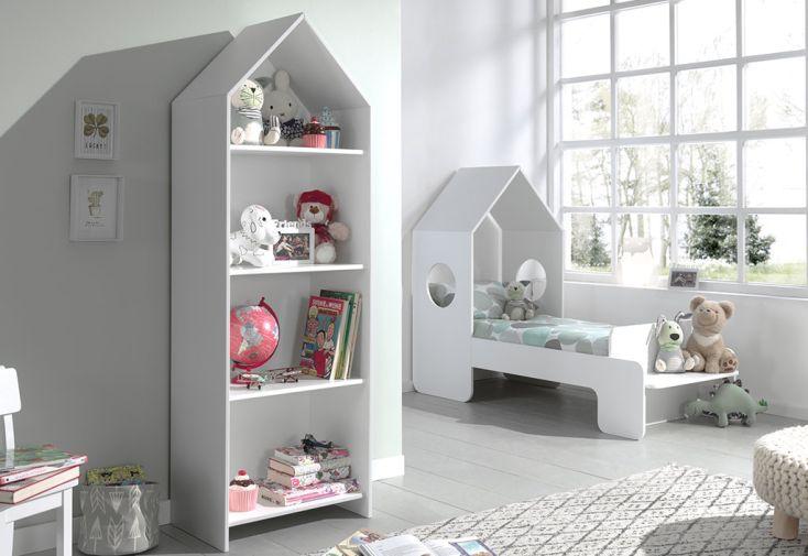 Chambre enfant en bois blanc avec lit cabane 70 x 140 et bibliothèque