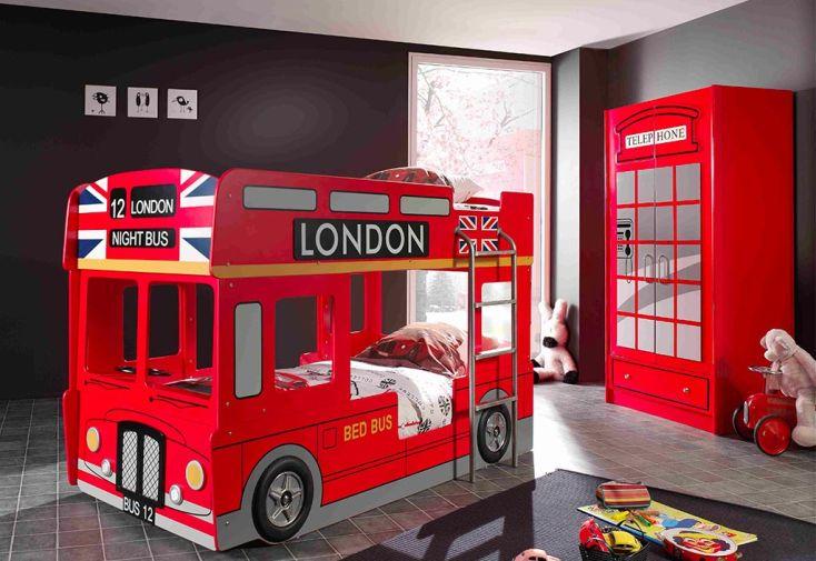 Chambre enfant London en bois rouge : lit superposé bus et armoire cabine téléphonique