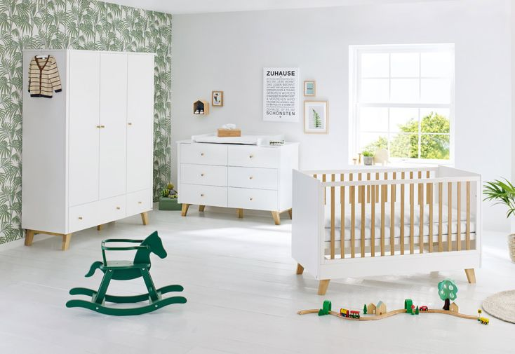 Chambre évolutive pour bébé et enfant en bois MDF et chêne massif