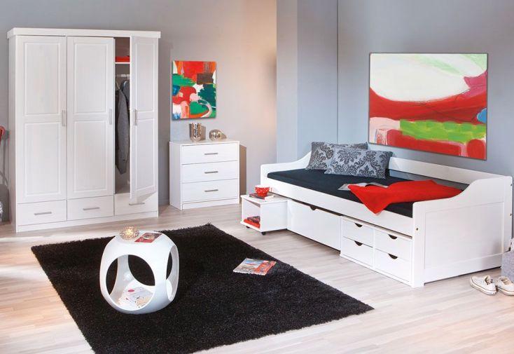 Chambre compl te lit 90x190 avec tiroirs armoire 3p for Chambre adulte avec commode