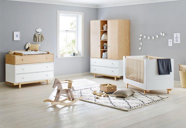 Chambre complète pour Bébé et Enfant évolutive en Bois Boks blanche armoire commode à langer