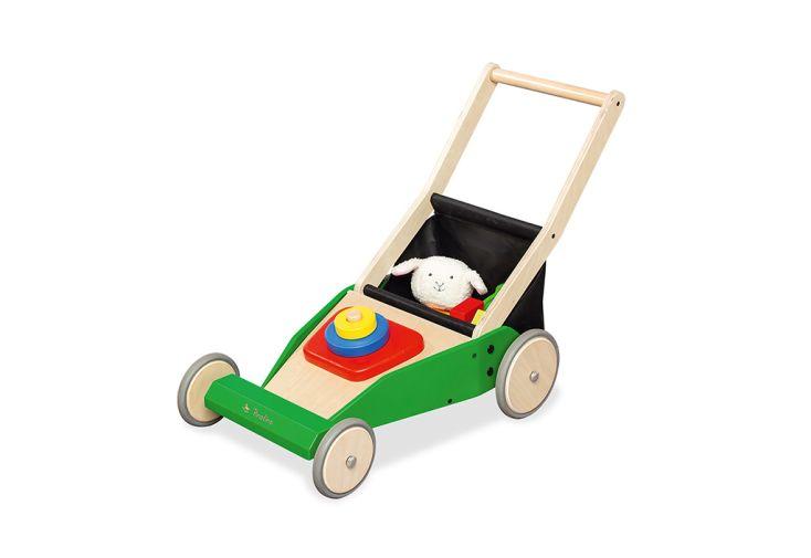 chariot de marche en bois tondeuse enfant klaas Pinolino