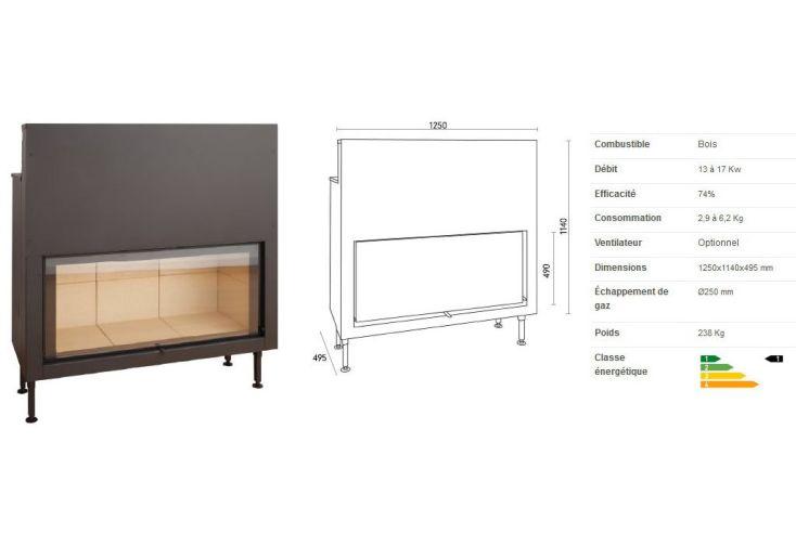 Insert à bois Large Vision et Porte Guillotine C1250ES
