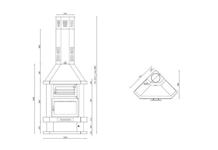 Cheminée d'Angle + Four + Bûcher en Acier 13,5 kW C-100-RH