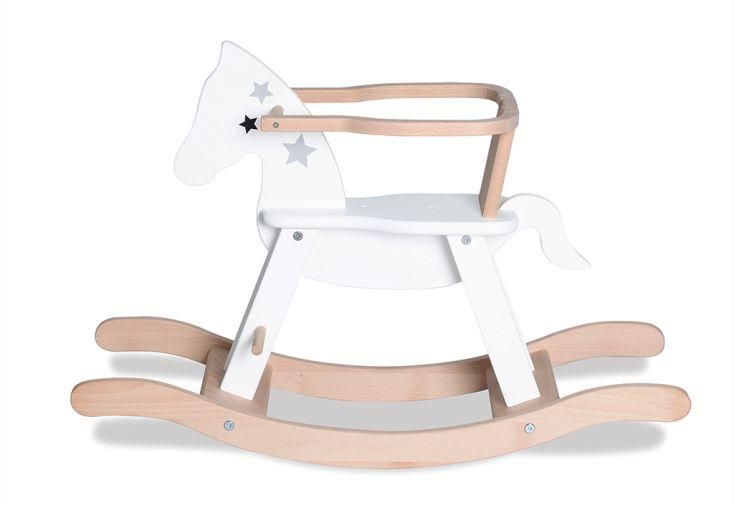 Cheval à Bascule Pinolino en Bois blanc à Etoiles bague amovible sécurité