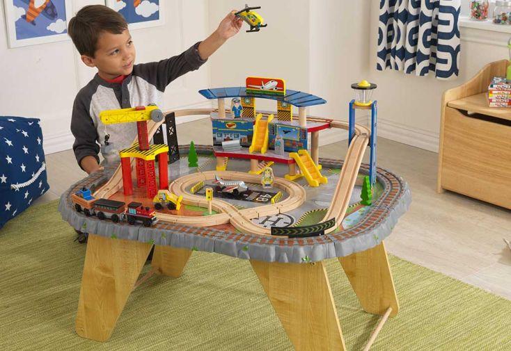 Circuit de Train + Table en Bois et Plastique Transportation Station