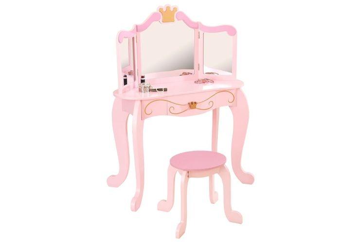 Coiffeuse pour enfant rose princesse en bois avec tabouret et miroir