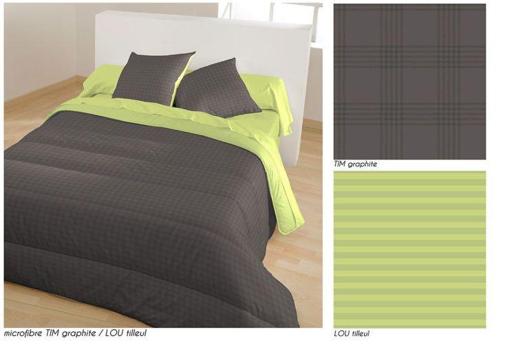 Couette Microfibre Faux Uni Bicolore 400g/m² 140x200cm - 3 Coloris