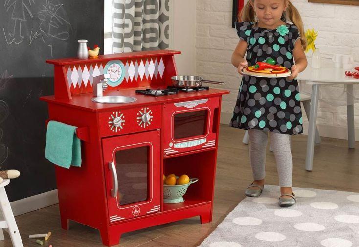 petite cuisine en bois jouet pour enfants rouge 3 ans