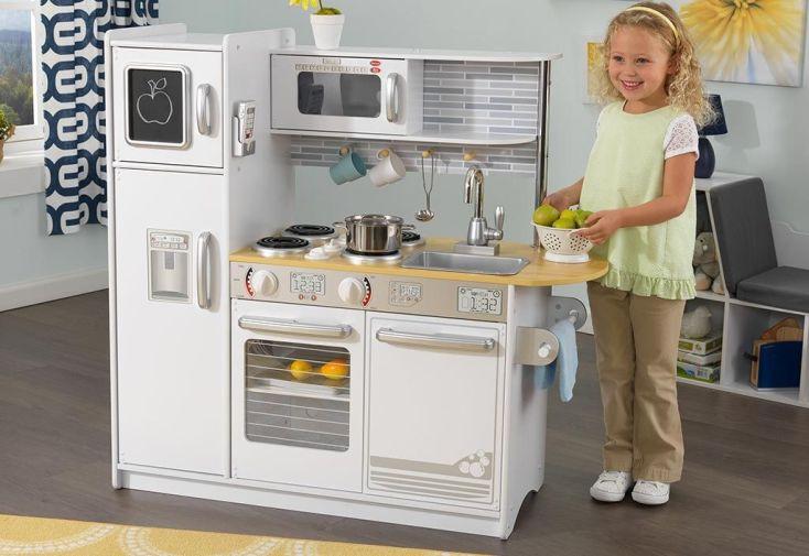 Cuisine en bois pour enfants blanche uptown 1 00 m kidkraft for Cuisine enfant blanche
