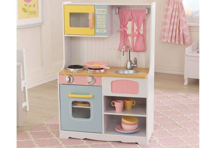 Cuisine en bois pour enfants petits espaces pastel country - Cuisine pour petit espace ...