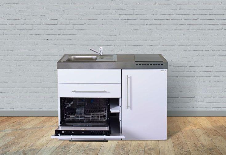 Kitchenette en métal blanc avec lave-vaisselle, réfrigérateur et plaques vitrocéramiques