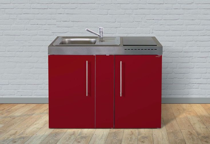 Kitchenette équipée en métal laqué rouge