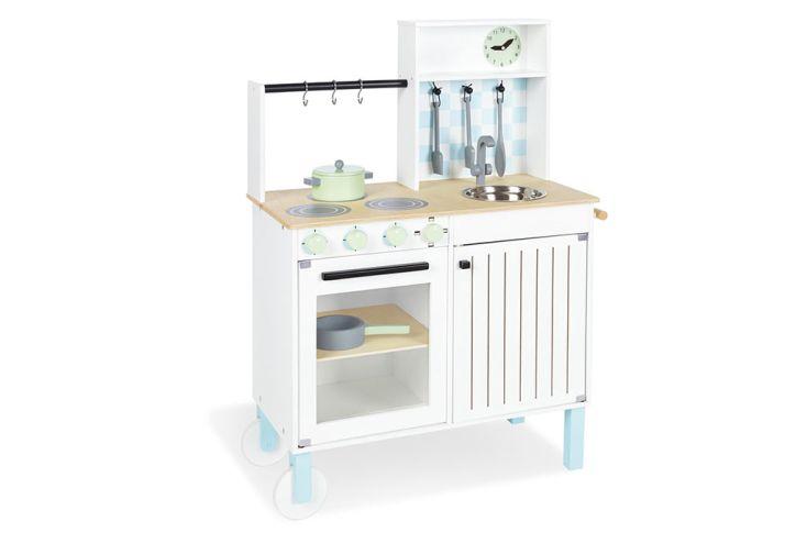 kitchenette pour enfant en bois blanc avec accessoires
