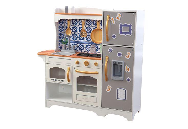 Cuisine en bois Kidkraft pour enfant bleu et blanche avec accessoires