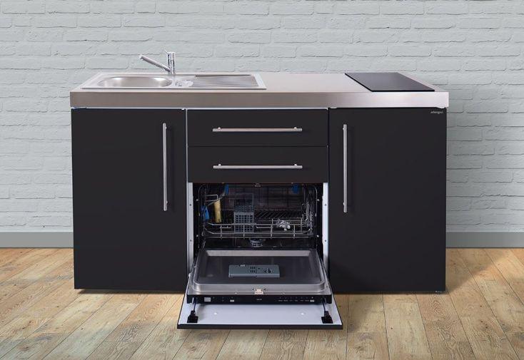 Mini cuisine avec frigo lave vaisselle et vitroc ramiques mpgs160 stengel for Cuisine avec frigo noir