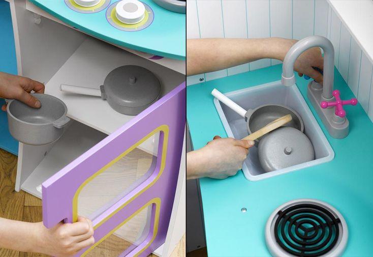 Cuisine en Bois pour Enfants Cook-a-lot Bleue et Mauve
