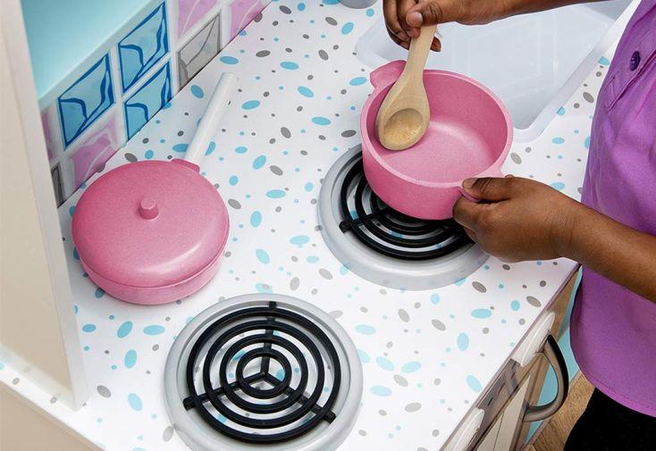 Cuisine en Bois Interactive Snowdrop pour Enfants Bleue et Blanche
