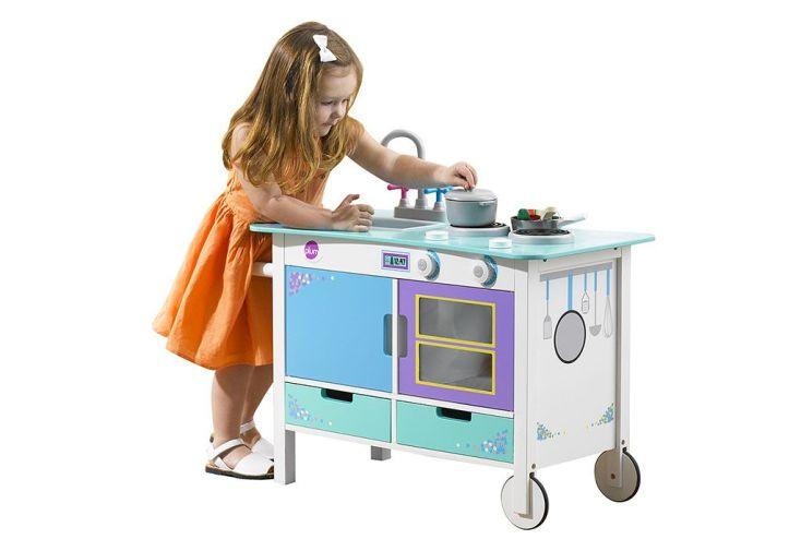 Cuisine en Bois pour Enfants Cook-a-lot Bleue Verte