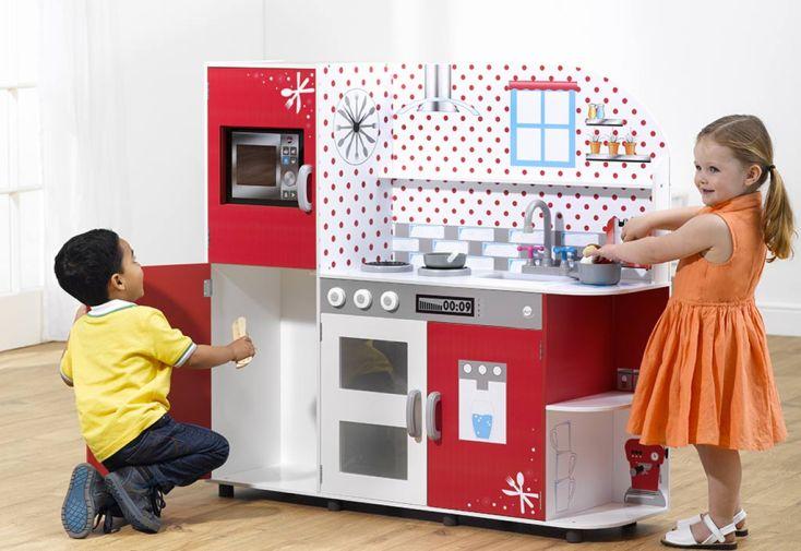 Cuisine en Bois Interactive Cookie pour Enfants Rouge et Blanche