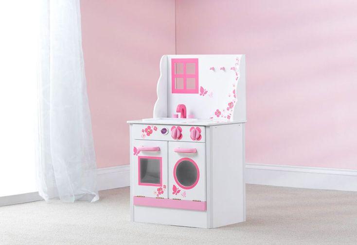 cuisine en bois pour enfants cabin blanche et rose - plum