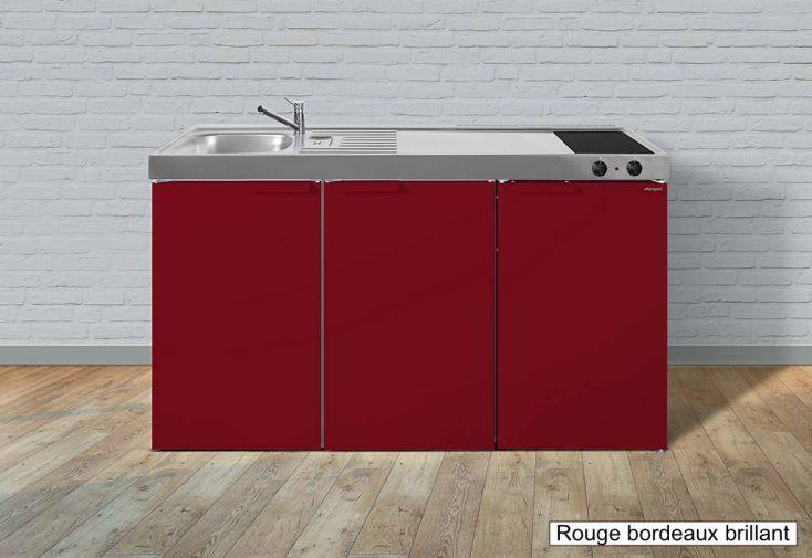 cuisinette pour studio rouge avec frigo et vitrocéramique
