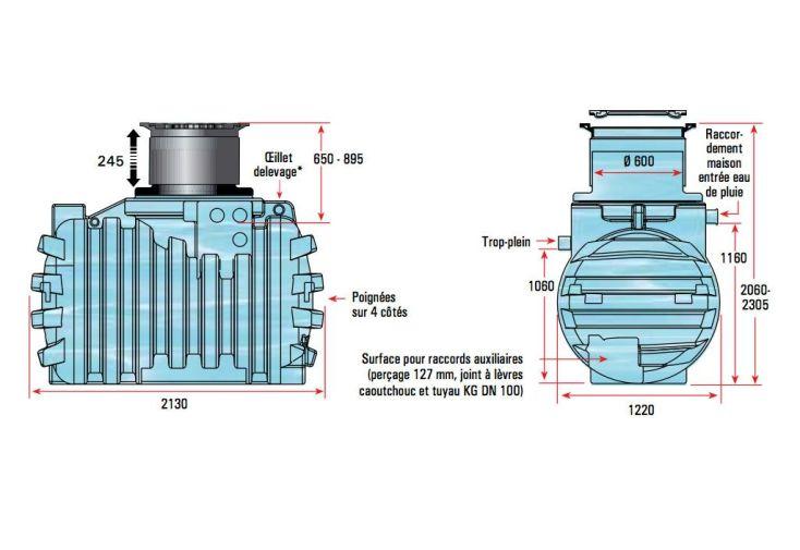 Cuve Récupération d'Eau Enterrée 2200l Kit Complet U1.1