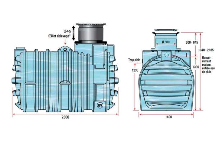 Cuve Récupération d'Eau Enterrée 3300l Kit Complet U1.1
