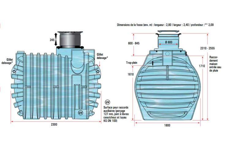 Cuve Récupération d'Eau Enterrée 4700l Kit Complet U1.1