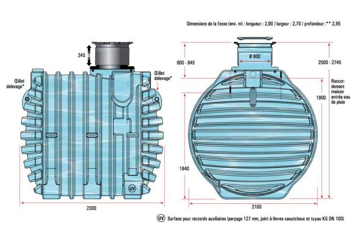 Cuve Récupération d'Eau Enterrée 13000l Kit Complet U1.1