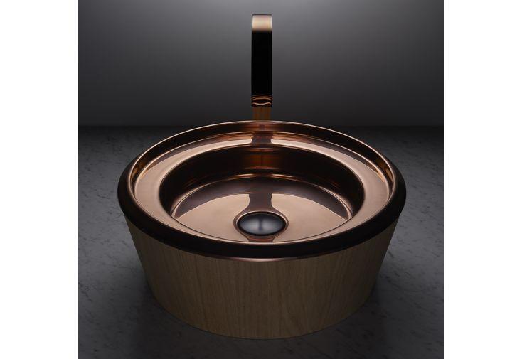 Vasque de salle de bain ronde en acier inoxydable et en bois