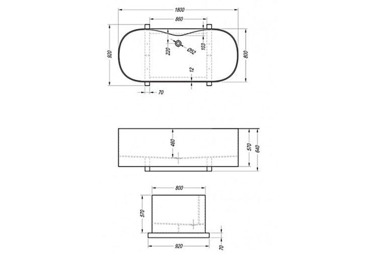 Baignoire Autonome en Kerrock Soave (180x80cm)