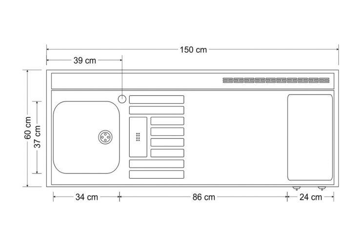 Mini cuisine avec frigo et vitroc ramique mk150 blanche - Dimensions plan de travail cuisine ...