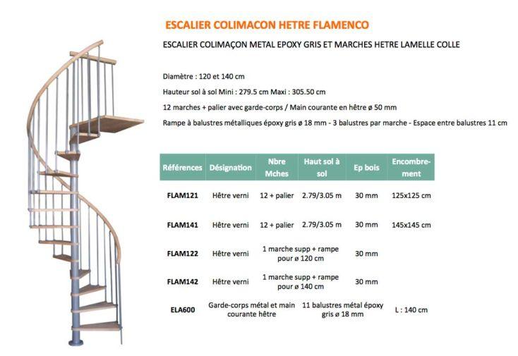 Escalier colima on en h tre et m tal flamenco levigne - Dimension escalier colimacon ...