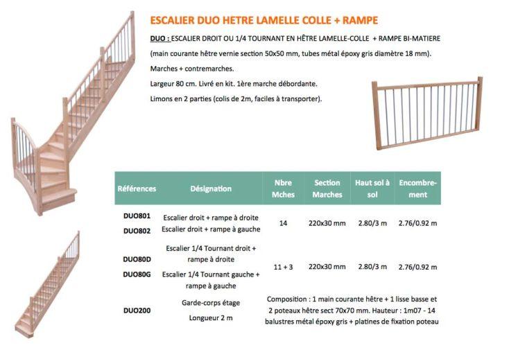 Escalier Droit en Hêtre Lamelle Collé Duo