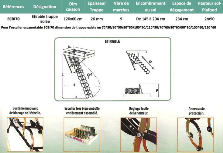 Escalier Escamotable Isolé Etirable Métal